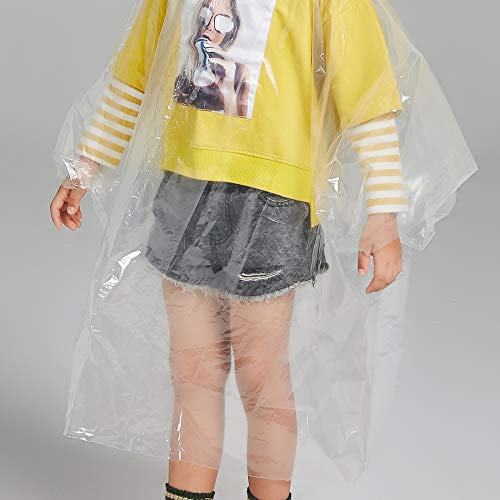 Disposable Rain Ponchos for Adults by(6 Pack) Including Drawstring Hood and Premium Quality 50% Thicker Material 100% Waterproof Emergency Rain Ponchos for Kids-Clear White (Clear Kids 6 Pack) by Timoch (Image #4)