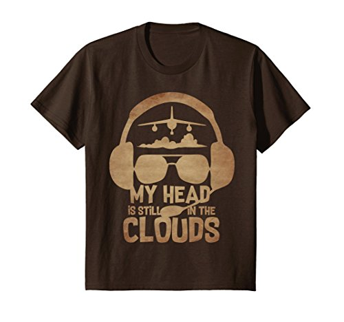 unisex-child In The Clouds, Vintage Airplane Aviator Pilot Design T Shirt 10 Brown