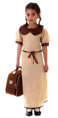 Evacuee Dressing Up Costumes (Henbrandt Girl's Evacuee War Time Costume 10 - 12 Years)