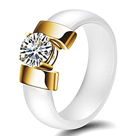 JEWH 6mm White Black Ceramic Rings - Plus Cubic Zirconia for Women - Gold/Silver