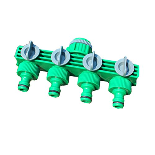 Rocsai 3/4 Water Hose Shut Off Valve Garden Hose Splitter Easy 4-Way Hose Connector for Home, Lawn & Garden, Agricultural & Commercial Use