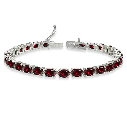 Sterling Silver 6X4mm Created Ruby Oval-cut Tennis ()