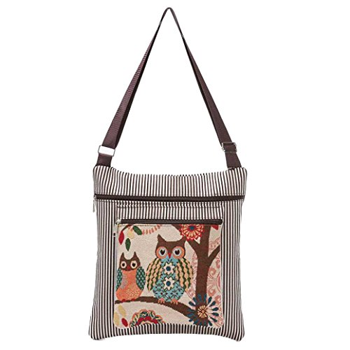 Women Shoulder with Casual Daily Strap Paymenow Handbag Single Adjustable Owl Printed Small Tote Coffee In8xIqpCvw