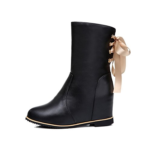 AllhqFashion Womens Soft Material Round Closed Toe Solid Low-Top High-Heels Boots Black fpGIj