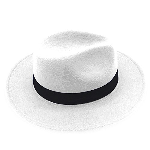 NE Norboe Women's Wide Brim Elegant Luxury Panama Fedora Hat Wool Cap with Strap (White) (Felt Fedora Hats)
