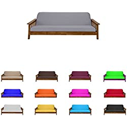 "Futon Mattress Cover Solid Color Choose Color and Size Twin Full Queen (Full (6""x54""x75""), Gray)"