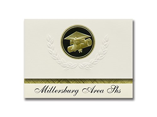 - Signature Announcements Millersburg Area Shs (Millersburg, PA) Graduation Announcements, Presidential style, Elite package of 25 Cap & Diploma Seal Black & Gold