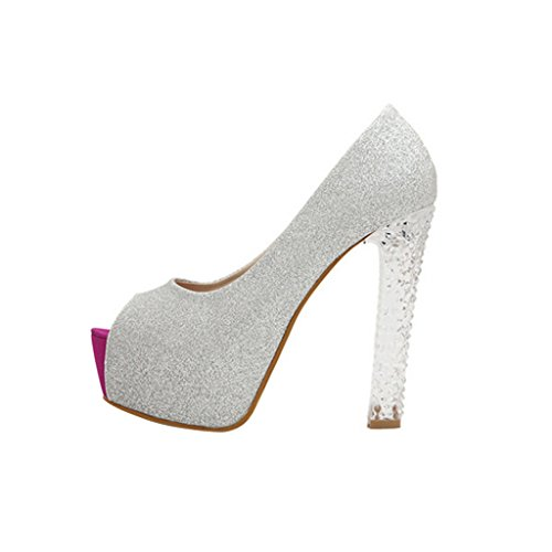 Party Stiletto Sandals Heels Silver High like toe Peep Shoes Crystal Sexy Club Women Wotefusi 7WqZ0SwBnx