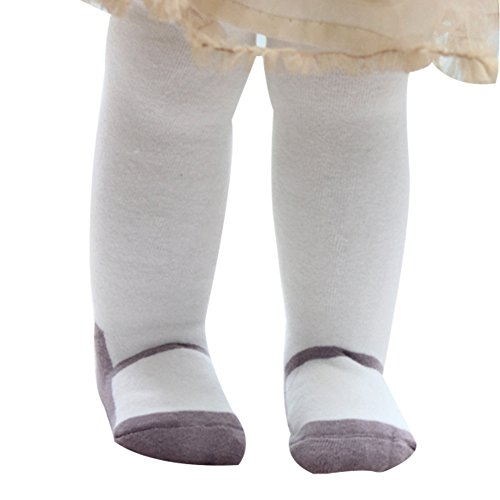 Taiycyxgan Infant Baby Girls Winter Mary Jane Tights Stocking Kids Leggings Pants Shoes White 0-6 months ()