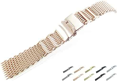 24mm Stainless Steel Mesh Bracelet Watch Band 1224WHI Silver Black IN14 Gold Rose Gold Titanium (Brushed Rose Gold)