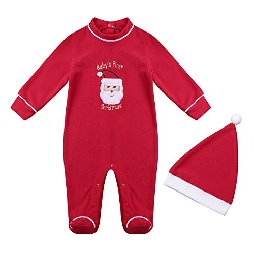 iiniim Boys Girls Baby's First Christmas Santa Coverall Long Sleeve Jumpsuit with Santa Hats Xmas Clothes Red 3-6 Months