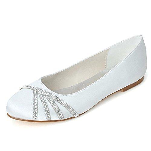 L@YC Zapatos De Mujer Pisos De TacóN Plano De Seda Con Punta Redonda Weddingchampagne / Plateado / Morado / azul / Rojo / Rosa, Blanco White