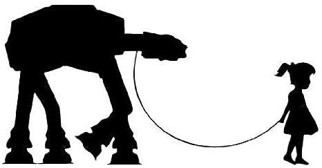 Girl Walking Robot AT-AT Star Wars WHITE Vinyl Car/Laptop/Window/Wall Decal