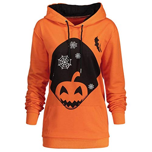 Gobling Women Hooded Halloween Pumpkin Face Printed Drawstring Hoodie Sweatshirt Tops (Color : Orange, Size : M) -