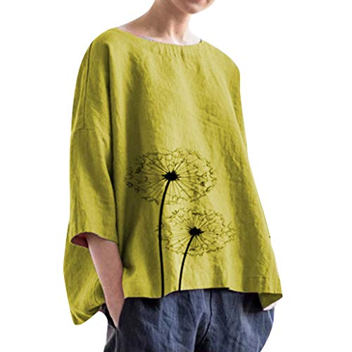QIQIU Linen Loose Daily Tops Blouse Women's 2019 Casual Plus Size Solid Dandelion Print Beach Shirt Soft Tank Tops Yellow