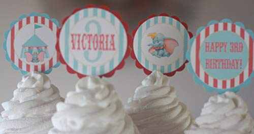 12 - Vintage Circus Dumbo Elephant Blue & Red Stripe Birthday Cupcake Toppers - Party Packages, Favor Tags, Banners, Door Signs Available