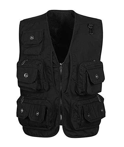 IyMoo Men's Fishing Vest Multi Pockets Mesh Detachable Photography Outdoor Climbing Causual Tactical Multi Use Vest