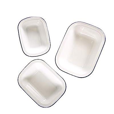 Webake Enamelware Roasting Pan 3-Pack Enamel Baking Set Rectangular Non-stick Roaster Ceramic Cake Pan Food Containers - Solid White with Blue Rim