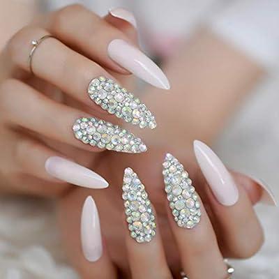 EchiQ L5012-24 uñas postizas extra largas, color rosa y ...