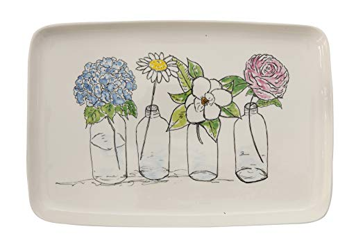 Platter Stoneware - Creative Co-Op Rectangle Stoneware Platter with Image of Flowers in Vases
