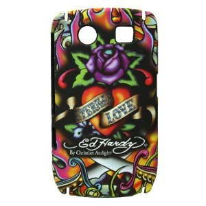 Authentic Ed Hardy Tattoo Faceplate Eternal Love By Christian Audigier Snap on Hard Protector Case for Blackberry Curve 8900 + Premium Lcd Screen Guard