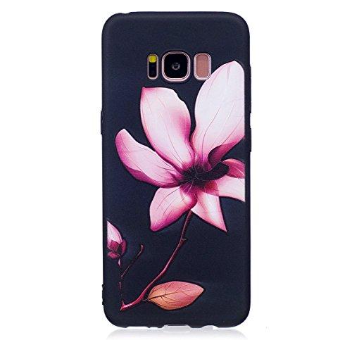 Funda Samsung Galaxy S8,SainCat Moda Alta Calidad suave de Relieve Pintura TPU Silicona Suave Funda Carcasa Caso Parachoques Diseño pintado Patrón para Carcasas Samsung Galaxy S8 TPU Silicona Flexible Lotus