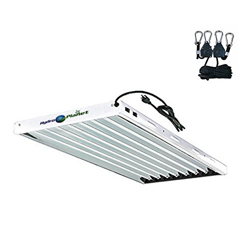 Hydroplanet T5 4ft 8lamp Fluorescent Ho Bulbs Included for Indoor Horticulture Gardening T5 Grow Lights Fixtures (8 Lamp, 4ft) (Best Fluorescent Lights For Growing Plants)
