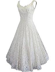 HotDresses Hot Dresses Women's Simple a Line Tea-Length Short Beach Lace Wedding Dress