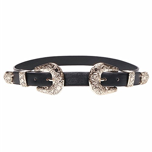 Wink Gal Women's Boho Coachella Metal Western Double Buckle Belt Gold
