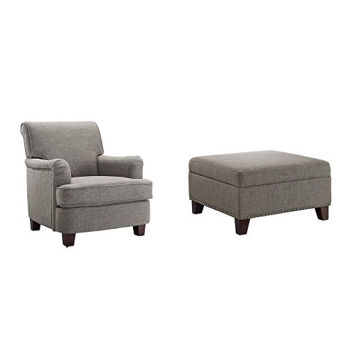 Dorel Living Rolled Top Club Chair with Nail Heads and Square Ottoman, Gray Club Chair Ottoman