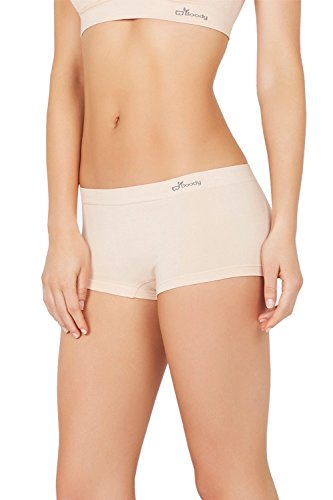 Bamboo Spandex Shorts - Boody Body EcoWear Women's Boyleg Briefs Seamless Boyshort Underwear Made from Natural Organic Bamboo Viscose - Soft Breathable Eco Fashion for Sensitive Skin - Beige, X-Small, Two Pack