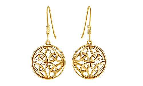 Celtic Knot Round Drop Earrings In 14K Yellow Gold Over Sterling (14k Gold Design Earrings)