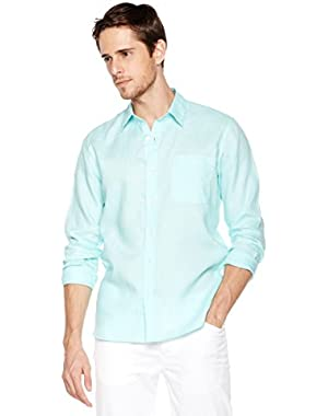 Men's Slim-Fit 100% Linen Long-Sleeve Woven Casual Shirt