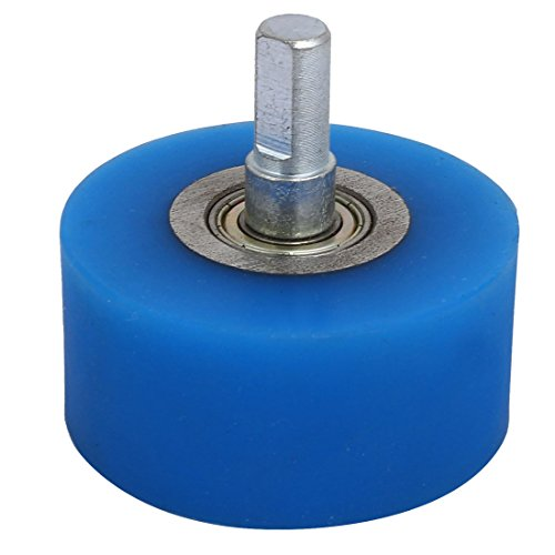 uxcell 10mm Dia Shaft 60mmx30mm Coating Machine Silicon Rubber Wheel Roller Blue by uxcell
