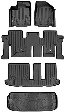 SMARTLINER Floor Mats 3 Rows and Cargo Liner Behind 3rd Row Set Black for 2013-2020 Pathfinder / 2013 JX35 / 2014-2020 QX60