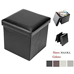 Bonnlo Faux Leather Folding Storage Ottoman Seat Bench Footrest Seat