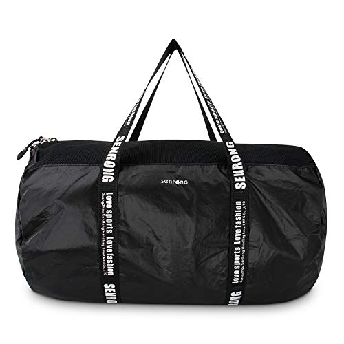Ultralight Tyvek Paper Duffel Bag, Portable Mesh Bag, Sports Gym Bag-Black Small