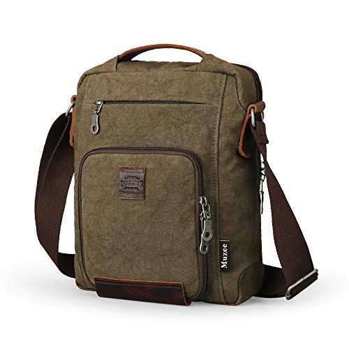 Muzee Small Canvas Messenger Bag for Men Vintage Vertical crossbady Bag shoulder bag Travel daypack Satchel Bag fits ipad