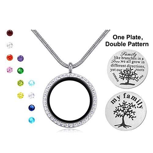 Engravery Floating Birthstones-Color Crystal Family Tree Locket Pendant Necklace for Women