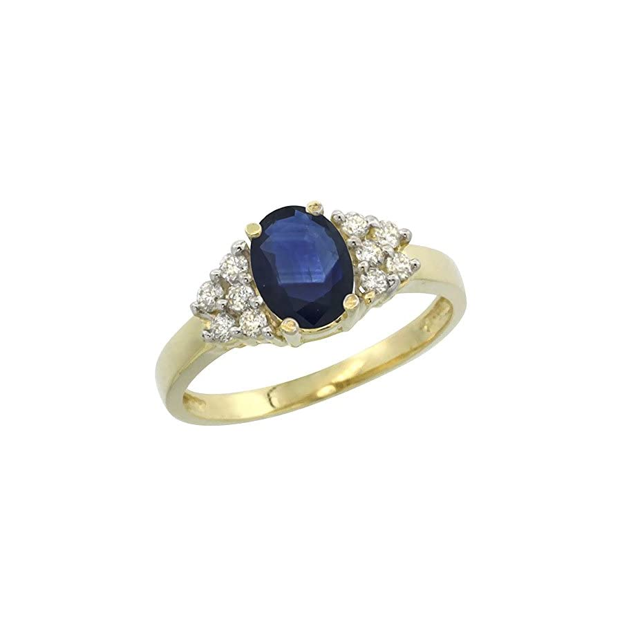 14K Yellow Gold Natural Blue Sapphire Ring Oval 8x6mm Diamond Accent, sizes 5 10