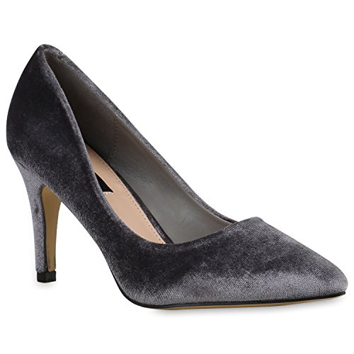 Stiefelparadies Klassische Damen Pumps Übergrößen Stiletto High Heels Leder-Optik Party Schuhe Lack Metallic Abendschuhe Abiball Flandell Grau Samt