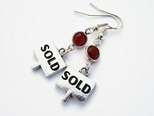 Sold Sign Birthstone Earrings, Realtor Earrings, Home Owner Earrings, Personalized Real Estate Agent Jewelry - Modern Jewelry Estate