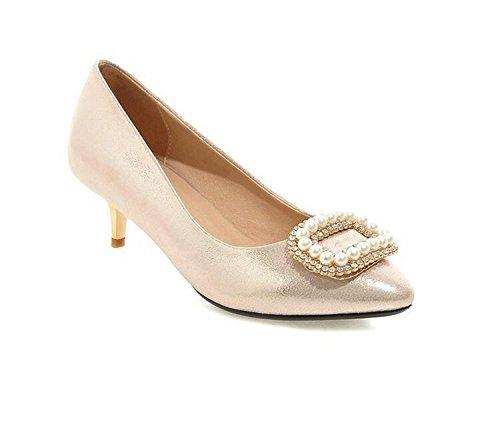 bocca GOLD 40 e Metallo autunno 37 Pietre Wedding Perline tacco con Shoes superficiale Court XIE fiori primavera scarpe gwU0aqa