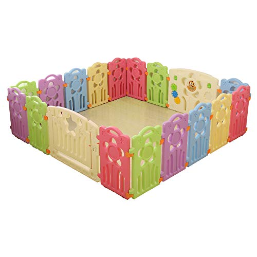 Playpen for Indoor/Outdoor Activity, Play Yards Safety Fence Flower Design Gate 16 Panel + 2 Gate Set, Use for Baby, Toddlers, Child. 2019 Model, Bliss Brands Exclusives
