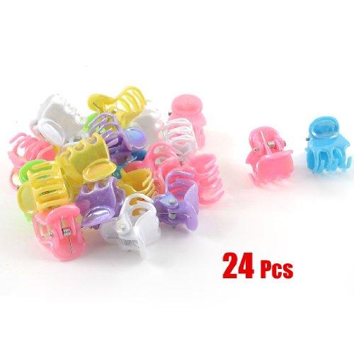24 Pcs Assorted Color Plastic Mini Hair Clip Claw for Ladies