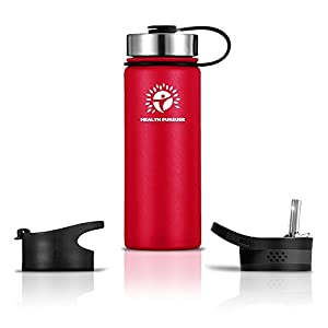 Stainless Steel Water Bottle/Thermos: ​22 Oz.​ Double Walled Vacuum Insulated Wide Mouth Travel Tumbler, Reusable BPA Free Twist Lid Bottles for Hot or Cold Liquid: Bonus Flip & Straw Lids - ​Red