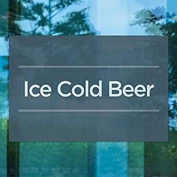 Basic Navy Window Cling Ice Cold Beer 5-Pack 36x24 CGSignLab