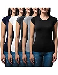 Women's 5 Pack Casual & Active Basic Cotton Stretch Color T Shirts