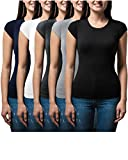 Sexy Basics Women's 5 Pack Casual & Active Basic Cotton Stretch Color T Shirts (5 Pack- Black/White/Grey/Navy/Charcoal, XX-Large)