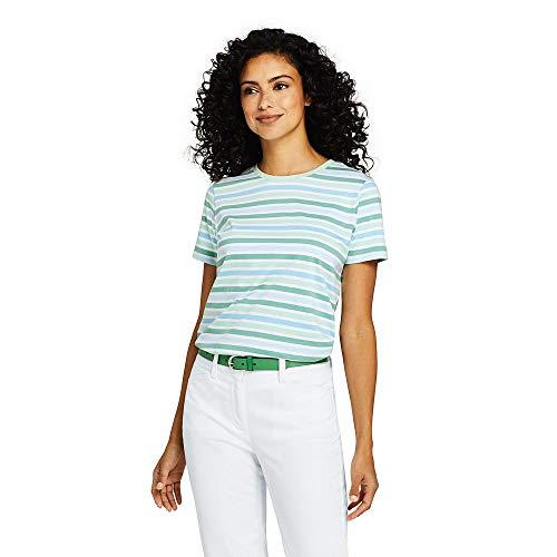 Lands' End Women's Petite Stripe Relaxed Short Sleeve Supima Cotton Crewneck T-Shirt, M, Faint Green Multi Stripe